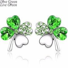 2018 Pretty Lovers Four Leaf Clover Stud-Earrings. Austrian Crystal Jewelry.