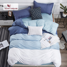 SlowDream Sea Clolor Blue Bedding Set Decor Quilt Cover Nordic Home Bedspread Flat Bed Sheet Duvet Bedcloyhes
