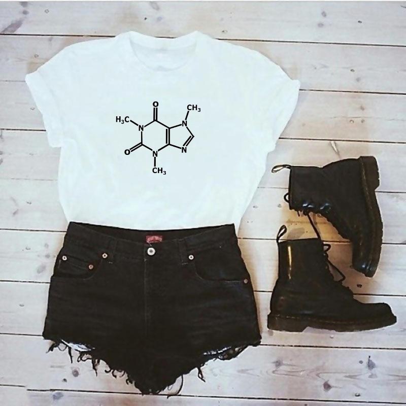 Caffeine Molecular Formula T-shirt woman Leonard Funny Tee Shirt Swag Cotton Summer T shirt The Big Bang Theory woman's clothing
