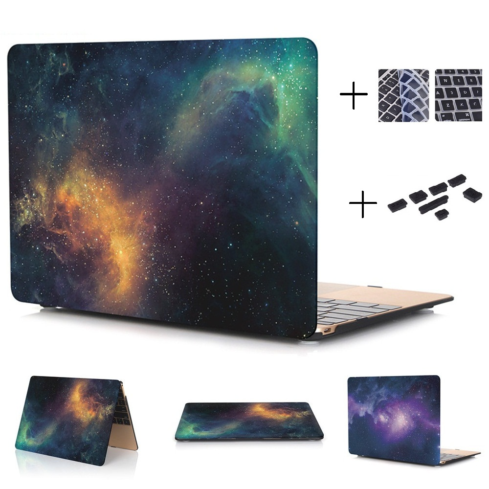 QUWIND Starry Sky Hard Case Protector for MacBook 12 inch Air 13 inch Pro 13 Pro Retina 13 inch Touch Bar 13 With Keyboard Cover enkay crystal hard protective case for 13 inch macbook pro with retina display orange