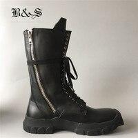 Черные и уличные мужские высокие сапоги из натуральной кожи, Ботинки Martin с боковой молнией в стиле милитари, уличные кроссовки в стиле рок