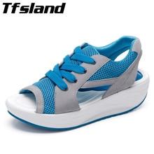 Tfsland Summer Women Mesh Breathable Sandals Ladies Peep Toe Wedges Hollow Swing Sandalias Lace Platform Running Shoes Sneakers
