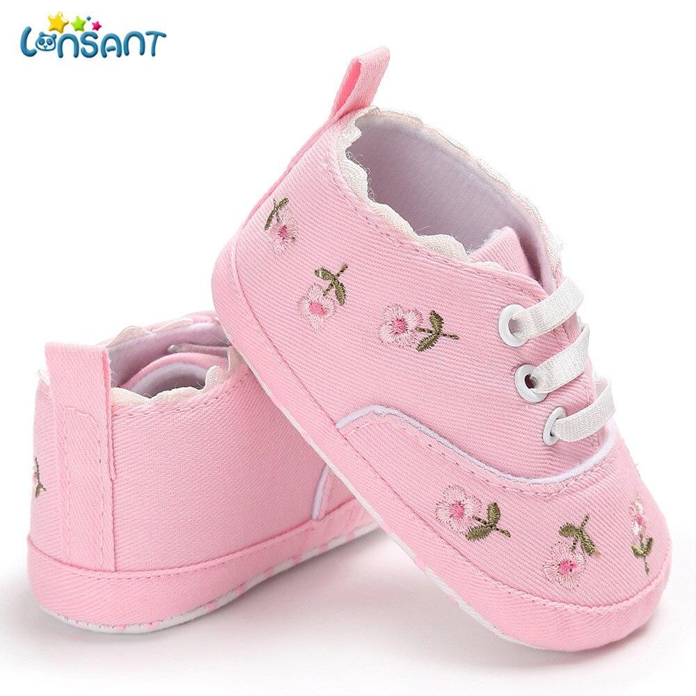 LONSANT Новинка 2018 года для маленьких девочек новорожденных детская обувь для новорожденных девочек цветочные кроватки обувь мягкая подошва п...