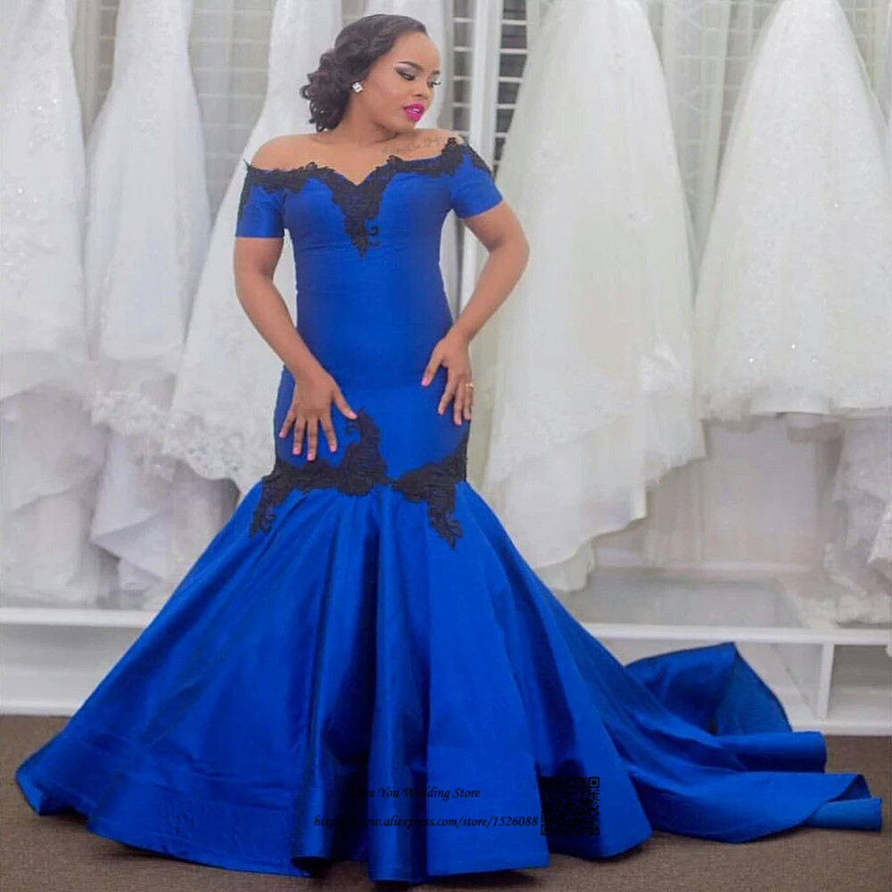US $95.2 20% OFF|Robe de Soiree Courte Royal Blue Black Lace Formal Evening  Gowns Short Sleeve Plus Size Prom Dresses Cheap Mermaid Sweep Train-in ...