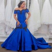 Robe de Soiree Courte Royal Blue Black Lace Formal Evening Gowns Short Sleeve Plus Size Prom Dresses Cheap Mermaid Sweep Train
