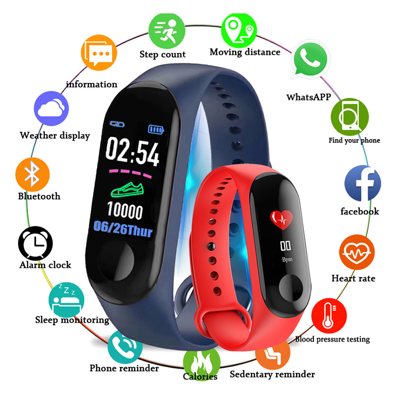 M3 Sports Color Touch Screen Pedometer Fitness Step Counter Watch Blood Pressure Heart Rate Monitor Health Pedometer