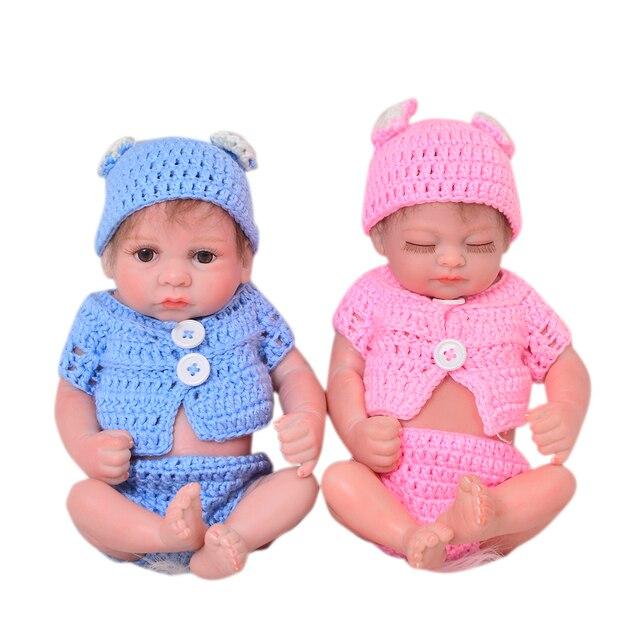 f22be11892d79 27 cm Mini bébé Reborn poupées jumeaux 11 pouces réaliste nouveau-né bébés  réaliste plein