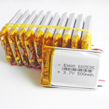 10 pcs 3.7V 500mAh 602535 Li-Po Polymer li ion Rechargeable Battery For Mp3 MP4 GPS PSP DVD Tablet PC bluetooth E-books