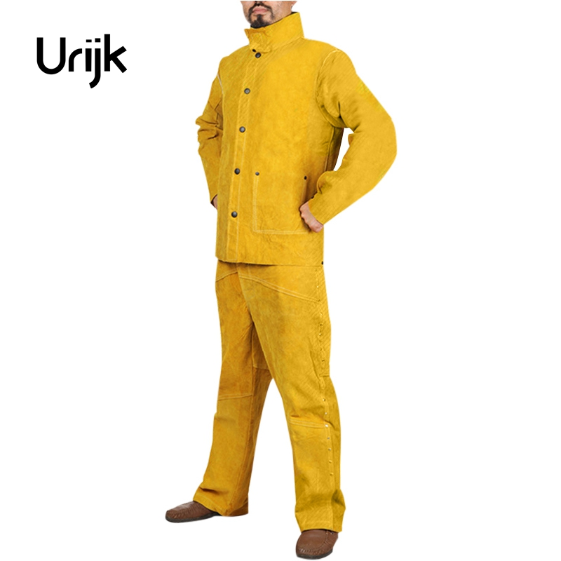 Urijk Cowhide Labor Uniforms Dust Proof Clothing Welding Coverall Grinding Cloths DIY Paint Decorating Cloths High Quality international labor migration