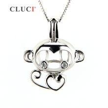 049a45c72518 CLUCI 925 plata esterlina collares colgante encanto mono jaula colgante  mujeres joyas
