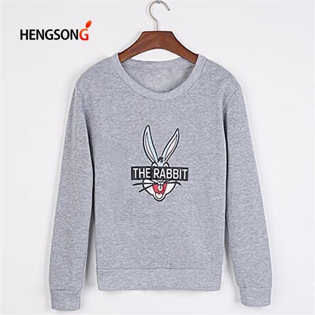 Women Fashion Cute Cartoon Bugs Bunny Printed Hoodies 2018 New Spring Winter Loose Casual Female Pullovers Sweatshirts