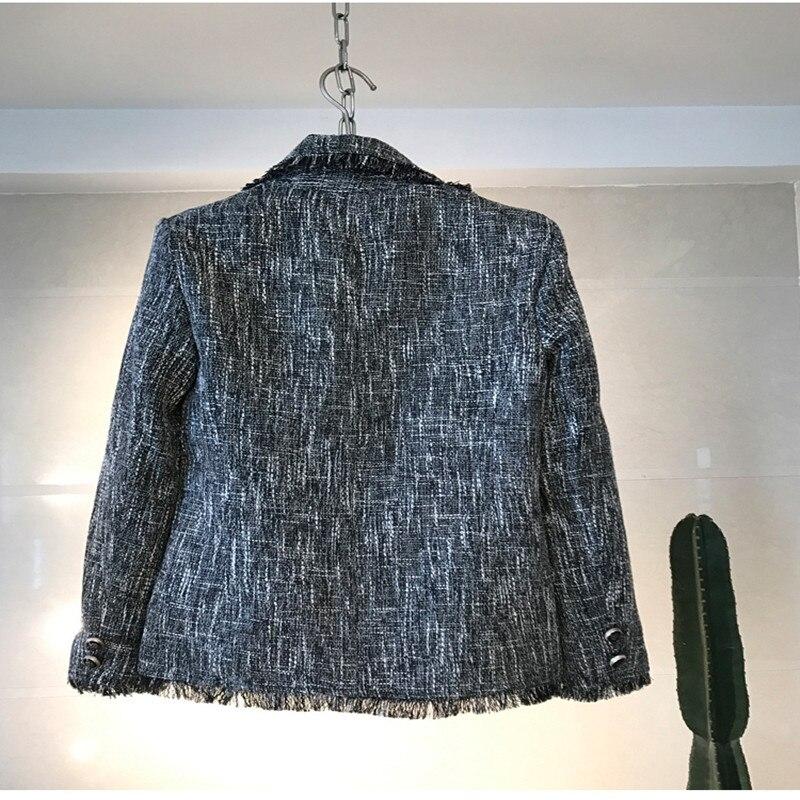 2019 Veste Brown Light Perle Tissu Femmes Gland Doux Manteau Outwear Tweed Hiver Mince Damier Diamants Décontracté Écossais Automne qpq4nwrxg1