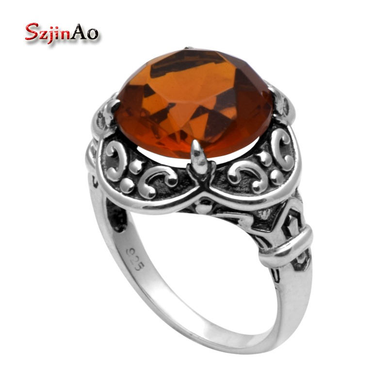 Szjinao Fashion Vintage Engagement Ring 925 Sterling Silver Wedding Rings for Women Amber Rings for Women