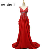 Vestido Longo De Festa Red Dress Party V Neck Beading Chiffon Empire Waist Sexy Open Back