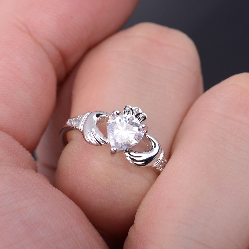 Hot Lover Crown Heart 18K White Gold GP Plated Engagement Wedding ...