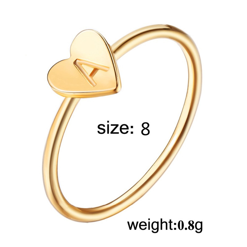 755be371f02fed קנו טבעות | 2018 New Heart Shape A-Z Initial Ring Silver Gold Color ...