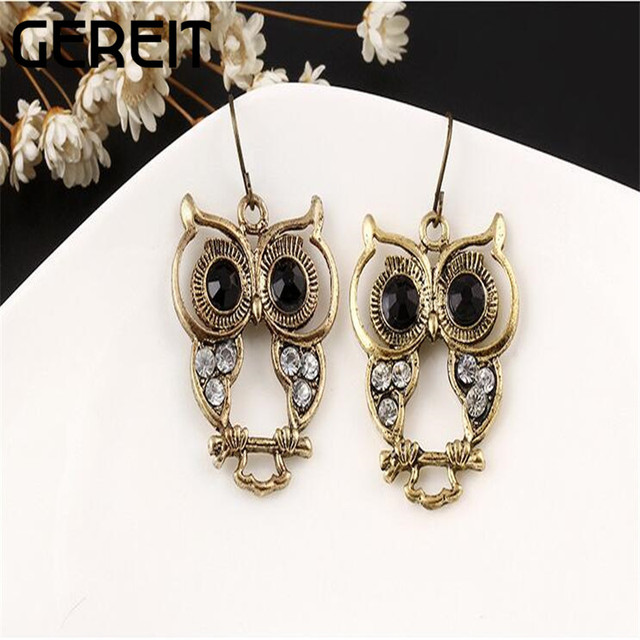 Ethnic Vintage Gold Earrings Owl Dangle Drop Black White Rhinestone Long For Women