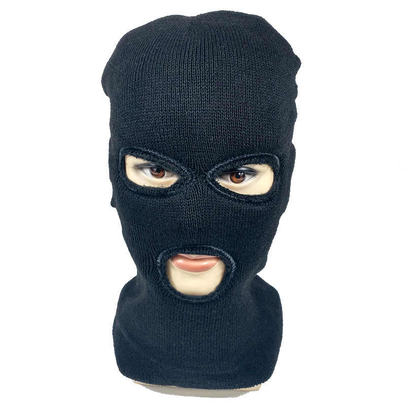f531a6acb536d Detail Feedback Questions about Full Face Cover Mask Three 3 Hole cotton Knit  Hat Winter Stretch Snow mask Beanie Hat Cap New Black Warm Face masks on ...