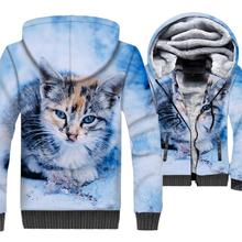 2019 winter new hip-hop jacket cute cat 3D print hoodies sweatshirts male wool liner tracksuits fashion men thick zip clothing