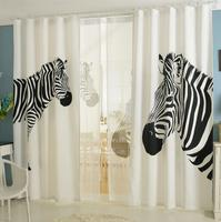 Nordic Ins Digital Printed 3d Curtains For Bedroom Window Decoration Modern Style Zebra Pattern Window Curtain Room 2pcs A Set