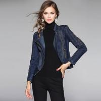Embroidery Denim Jacket Women Classical Motor Style Vintage Long Sleeves Zipper Slim Short Coat New Fashion Style 2017 Autumn