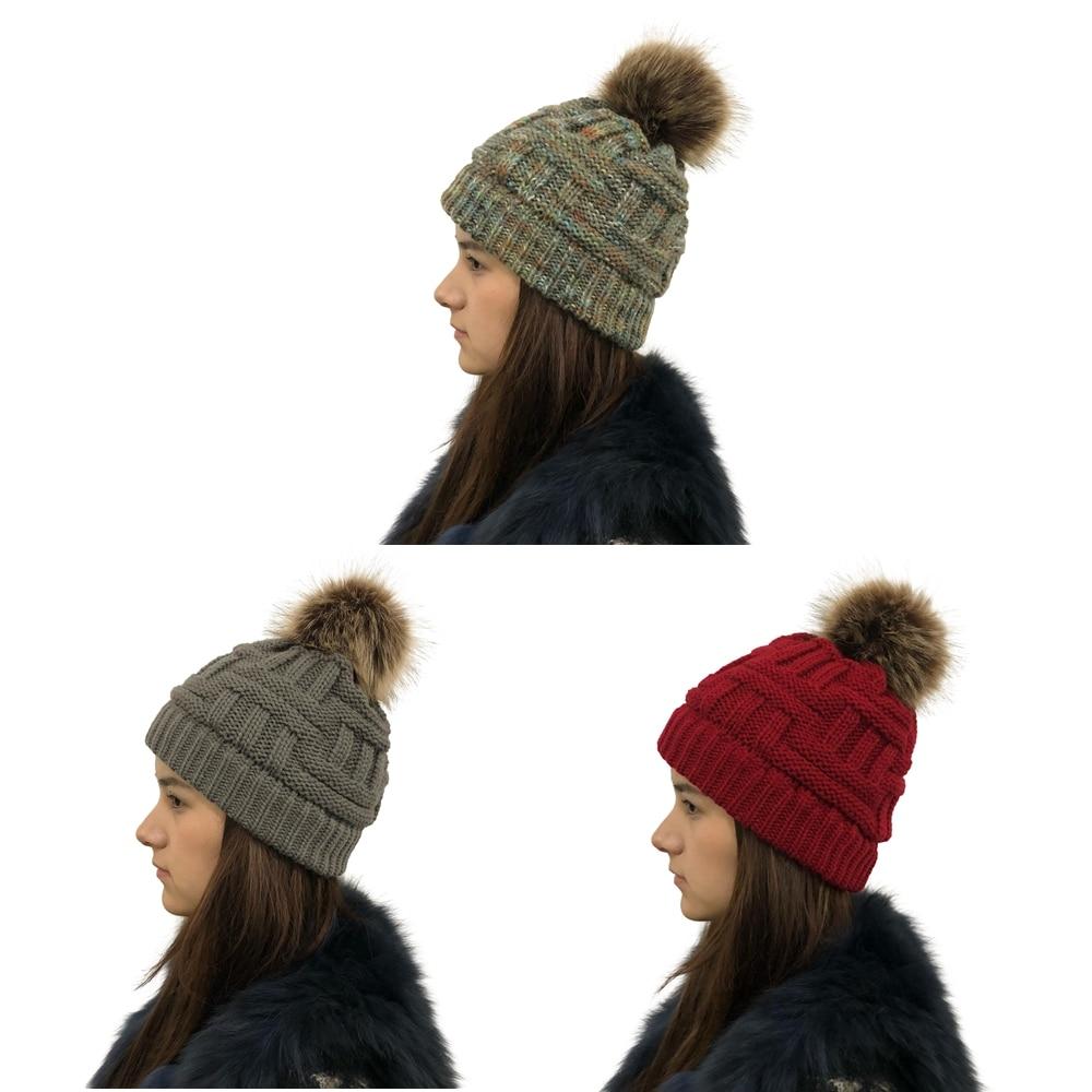 100% Wahr Mode Faux Pelz Pom Poms Beanie Frauen Winter Hüte Häkeln Strick Bambus Ski Kappe Skullies Beanies Warme Caps Damen