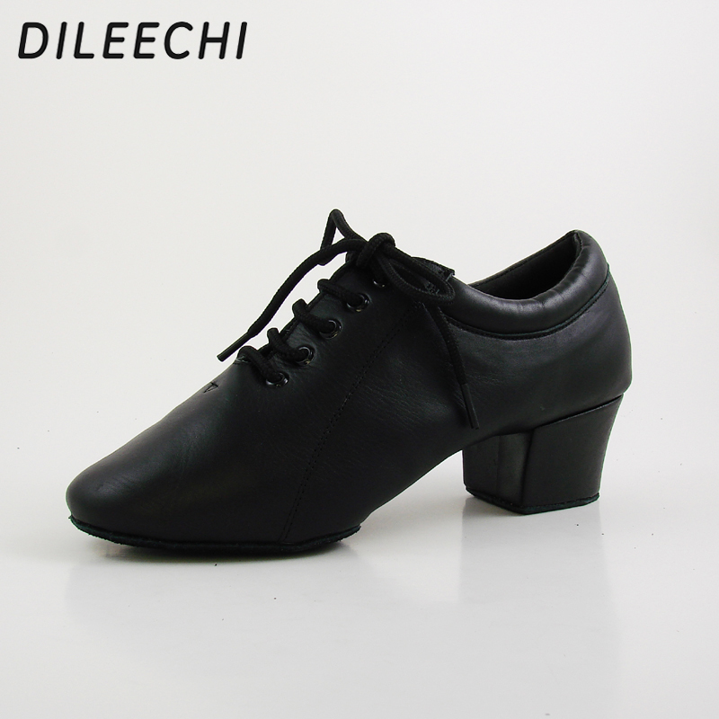 DILEECHI new Black Genuine leather Men's Latin dance shoes heel 4.5CM Size 28 46 Ballroom Dancing Shoes Customized large size-in Dance shoes from Sports & Entertainment    3