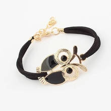 Cute Fashion Velvet Rope Gold Chain Owl Bracelets Women Vintage Faux Leather Charms Bracelet Jewelry Girls Boys Gift Bijuteria цена