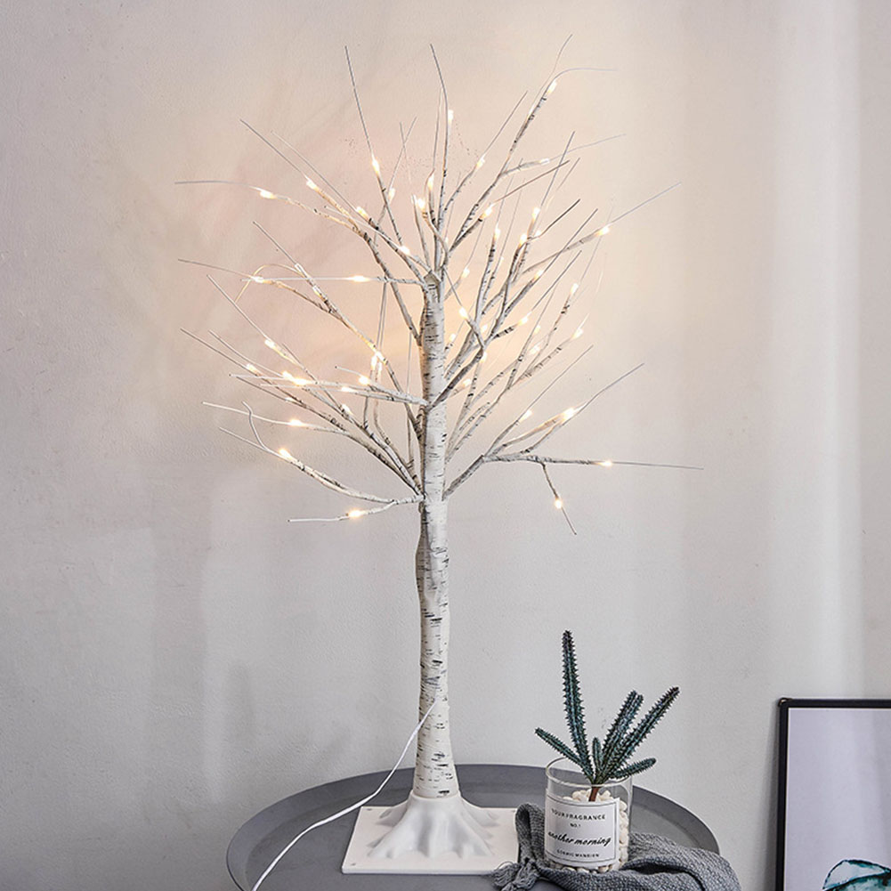 45cm Decorative Landscape Festival 24 Led Party Branches Lamp Artificial Birch Tree Warm White Pvc Night Light Wedding Home Fragrant Aroma