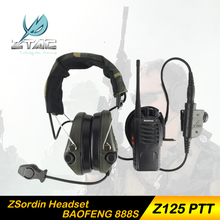 Z-Tactical ZSordin third-generation Noise Reduction canceling Electronic Sound Pickup Headset Z111 with PTT with walkie talkie