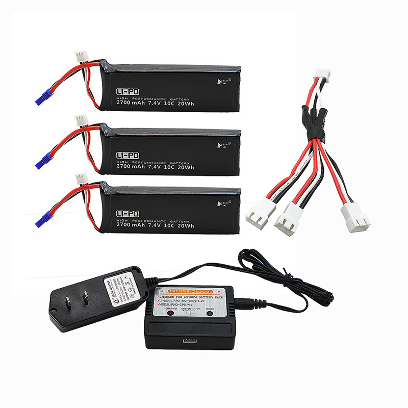 Hubsan H501S lipo battery 7.4V 2700mAh 10C 3pcs Batteies  with cable for charger Hubsan H501C rc Quadcopter Airplane drone Spare h501s lipo battery 7 4v 2700mah 10c batteies 3pcs for hubsan h501c rc quadcopter airplane drone spare parts