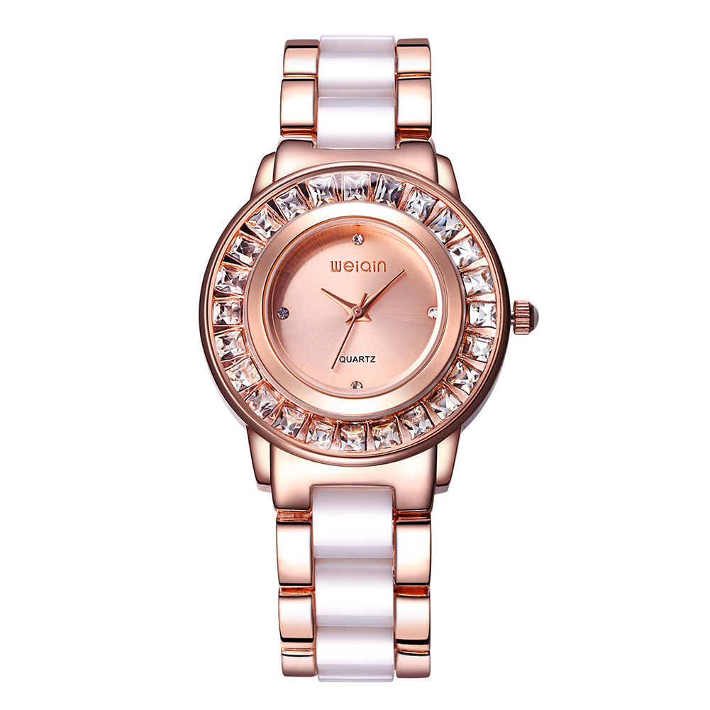 WEIQIN Rhinestone Rose Gold Steel Wrist Watch Women Luxury Brand Fashion Ladies Dress Watches Analog Quartz Watch Montre Femme weiqin real ceramic women watch brand luxury diamond fashion watches ladies rose gold wrist watch quartz hours relogios feminino