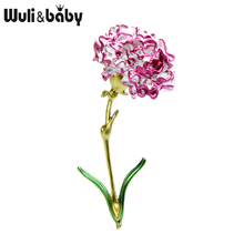 Wuli&baby Pink Blue Carnation Flower Brooches for Women Alloy Big Enamel Weddings Party Brooch Pins Moms Gifts
