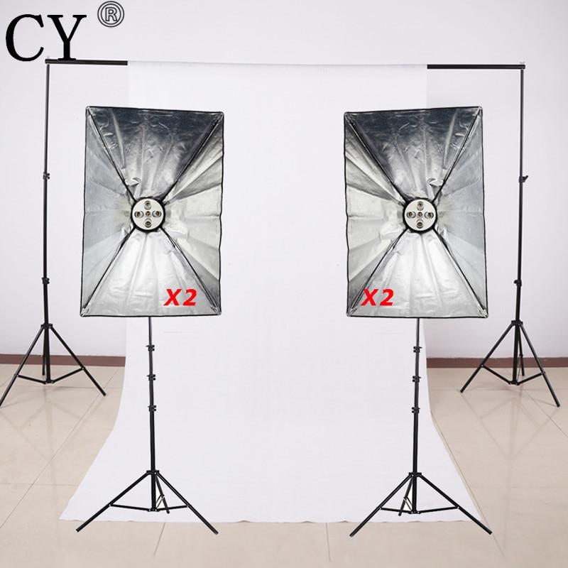 CY Photography Studio Soft Box Lighting Kits Stand+SoftBox+E27 5 Lamp Holder+Background Support System Kits Photo Studio Set