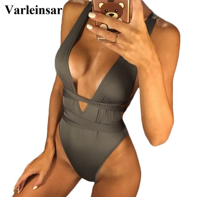 New Sexy Deep V Neck Wrap Around Women Swimwear One Piece Swimsuit Female Bather 2019 Bathing Suit Swim Backless Monokini V307
