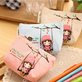 New Arrival Candy Colors Cute Small Handbag Girl's 4Colors High Quality Canvas Coin Packet Fashion Band Ladies Clutch Purse Bag