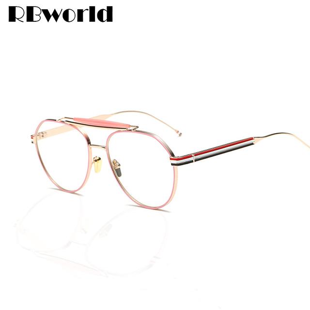 2017 Das Mulheres Da Marca Ouro Claro Quadro Homens Óculos Grande Armação Dos Óculos de Miopia Óculos Mulheres Óculos de Armação de Computador de Negócios de Moda