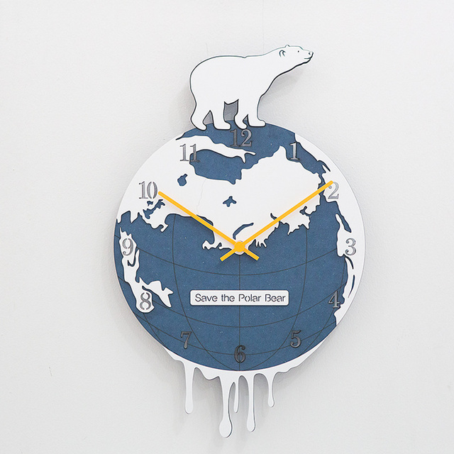 Polar Bear Creative Wall Clock Living Room Modern European Fashion ...