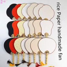 Vintage Handle Rice Paper Fan White Red Black Traditional Craft Fan Adult DIY Painting Chinese Bamboo Root Decorative Fan Gift silk traditional bamboo fan with painting ancient chinese golden