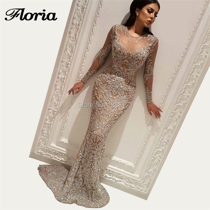 Luxury Bling   Evening     Dresses   2018 Glitter Dubai Turkish Arabic Aibye Abendkleider Shiny Sequins Formal Prom   Dress   Robe de soiree
