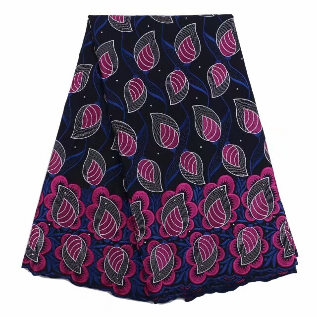 Navy blue african swiss voile lace with deep pink embroidery 5yards/pcs  korean lace fabric small patterns Dec-19-2017