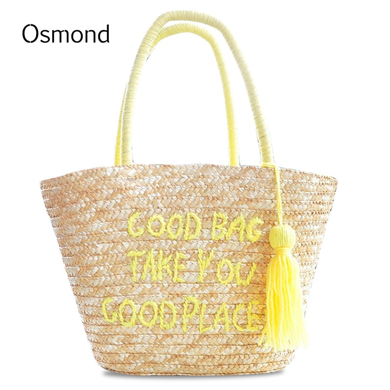 Osmond Women Shoulder Bag 2017 New Spring Summer Letter Tassel Straw Handbag Vines Beach Knitting Drawstring Sackpack In Bags From Luggage