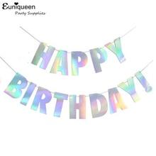 Laser Stříbrná lepenka Šťastný narozeninový nápis Dreamlike Barevný dopis Girlanda Baby Sprcha Narozeniny událost Decor