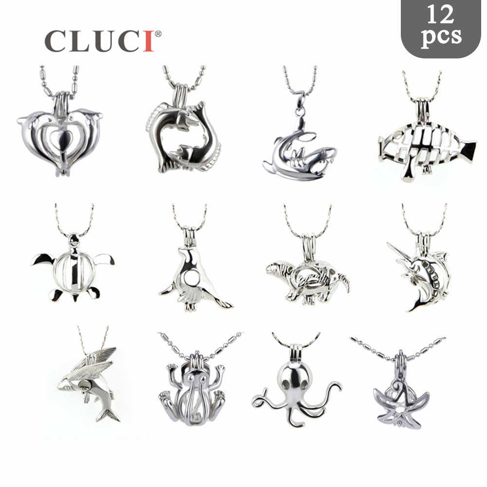CLUCI 12pcs/set Mixed  Animals pack color colors cage pendants lockets for necklace/bracelet making Love Wish Jewelry Gifts