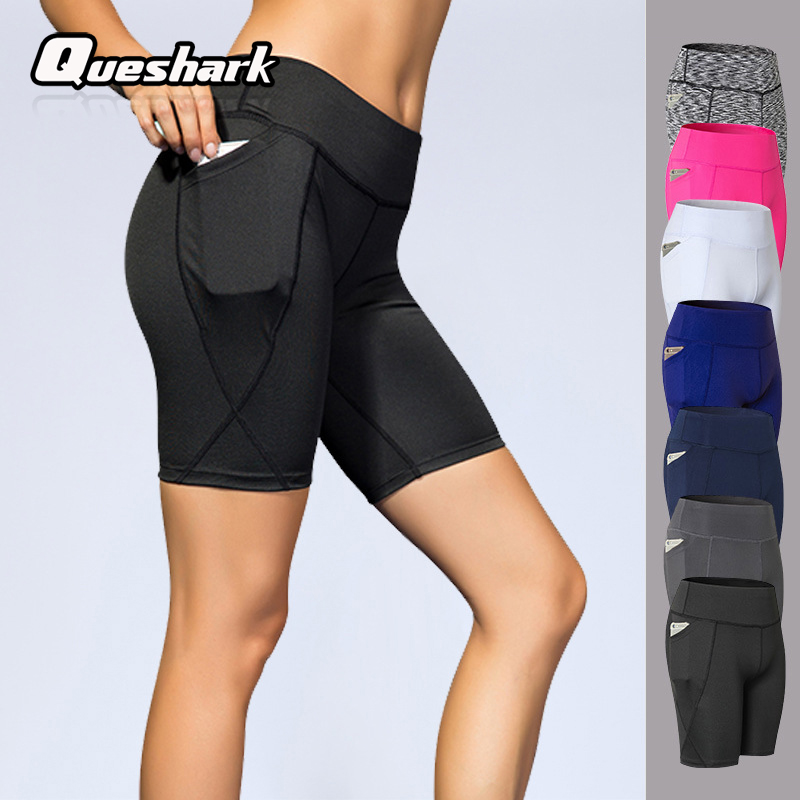 Queshark Professional Women Running Shorts High Waist Stretchy Fitness Leggings Seamless Compression Tights Shorts With Pocket okulary wojskowe