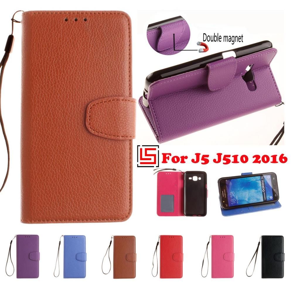 PU Leather Lether Leathe Flip Wallet Phone Case capinha Cover For Samsung Samsuns Samsug Sumsung Galaxy J5 2016 Rose Black