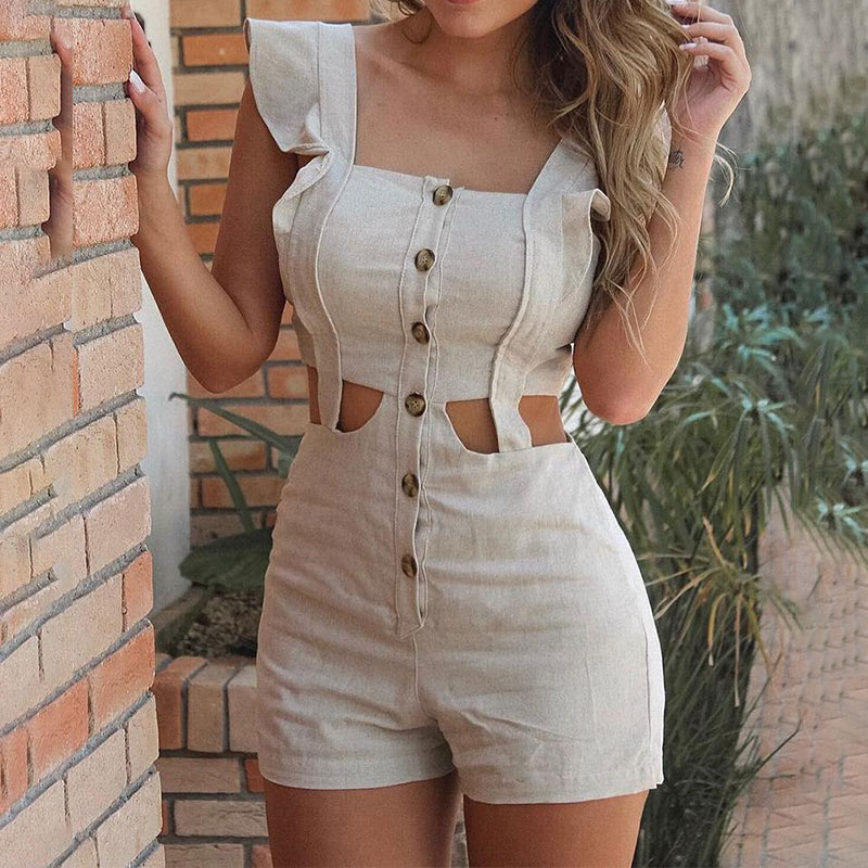 Square Collar Ruffles Playsuit Women Hollow Out Sleeveless Buttoned   Rompers   Ladies Sexy 2020 Summer High Waisted Solid Playsuits