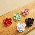 Vermelho/Rosa/Branco de Cerâmica Puxadores Para Móveis Gabinete Knob e Alças 2015 Nova Flor