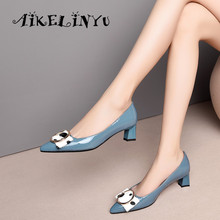 AIKELINYU 2019 Fashion Spring Woman Pumps Bow Genuine Leather Shoes Sexy Pointed Toe Mature Office Lady Elegant Blue
