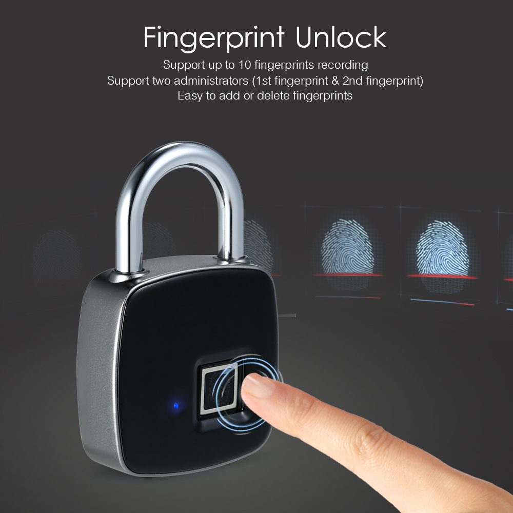USB Rechargeable Smart Lock Keyless Fingerprint Lock IP65 Waterproof Anti-Theft Security Padlock Door Luggage Case Lock